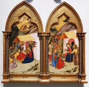 Якобо ди Тионе - диптих Рождество и Приношение волхвов, 1370 (Лондон)