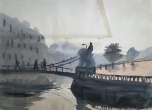 Н. Ф. Лапшин - Банковский мост, первая половина  XX в. (бумага, акварель)