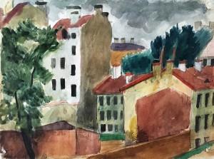 Русаков А. И. - Пейзаж. Петроградская сторона, конец 1920-х (бумага, акварель)