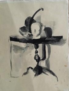 Юдин Л. А. - Натюрморт с гипсовой головой, 1929-30 (бумага, акварель)