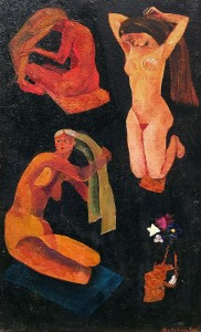 Валерий Ватенин - Причесывающиеся женщины, 1964 (дерево, масло)