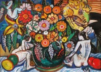 Виктор Мымрин - Есенин и цветы (холст, масло), без даты