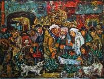 Виктор Мымрин - У пункта стеклотары, 1989 (холст, масло)