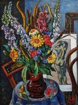 Виктор Мымрин - Цветы с рисунком обнаженной модели, 1989 (холст, масло)