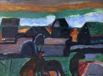 Владимир Курдюков - Деревня, 1988 (картон, масло)